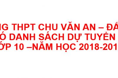 Danh sách học sinh dự tuyển vào lớp 10 – năm học 2018-2019