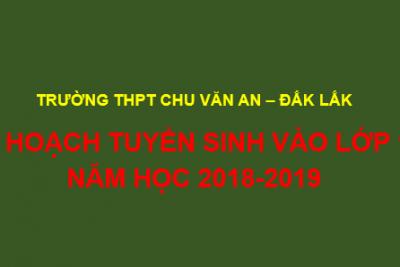 KẾ HOẠCH TUYỂN SINH VÀO LỚP 10 NĂM HỌC 2018-2019